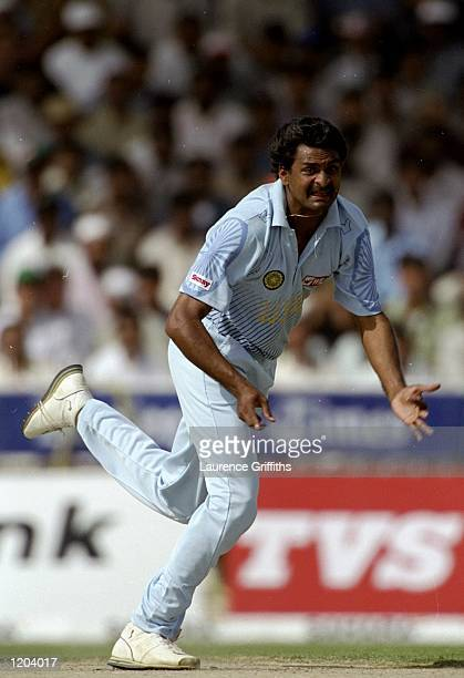 Javagal Srinath of India bowls during the Coca Cola Cup tournament played in Sharjah United Arab Emirates Mandatory Credit Laurence Griffiths...