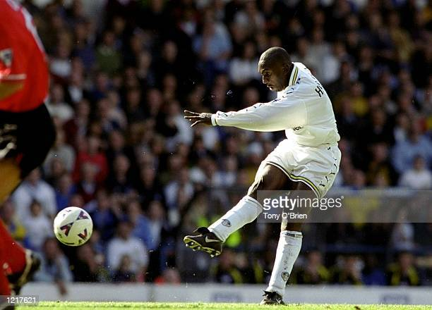 Jimmy Floyd Hasselbaink of Leeds United shoots with power at goal during the FA Carling Premiership match against Nottingham Forest played at Elland...