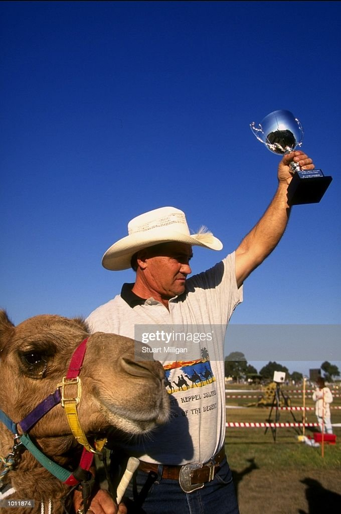 John Richardson with his camel who won the race during the Camel Cup at the Geelong Show grounds in Geelopng, Australia. \ Mandatory Credit: Stuart Milligan /Allsport