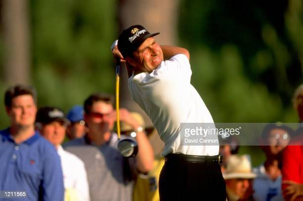 Jose Maria Olazabal of Spain tees off from the 15th tee during the final round of the 1999 US Masters at the Augusta National GC in Augusta, Georgia,...