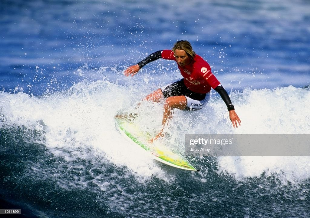 Layne Beachley of Australia in action during the 1999 Rip Curl Pro Surfing Championships from Bells Beach, Victoria, Australia. \ Mandatory Credit: Jack Atley /Allsport