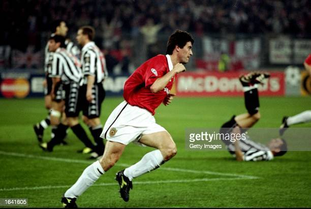 Manchester United captain Roy Keane wheels away after scoring in the UEFA Champions League semi-final second leg match against Juventus at the Stadio...