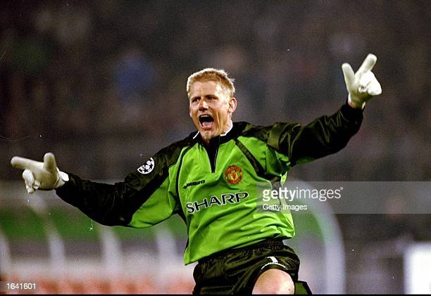 Manchester United keeper Peter Schmeichel celebrates a goal in the UEFA Champions League semifinal second leg match against Juventus at the Stadio...