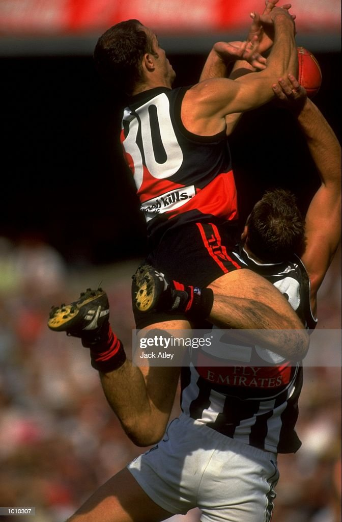 Mark Fraser (30) of the Essendon Bombers in action during the AFL Premiership Round 5 match against the Collingwood Magpies at the MCG, Melbourne, Australia. The Anzac Day game finished with Essendon (108) defeating Collingwood (100). \ Mandatory Credit: Jack Atley /Allsport