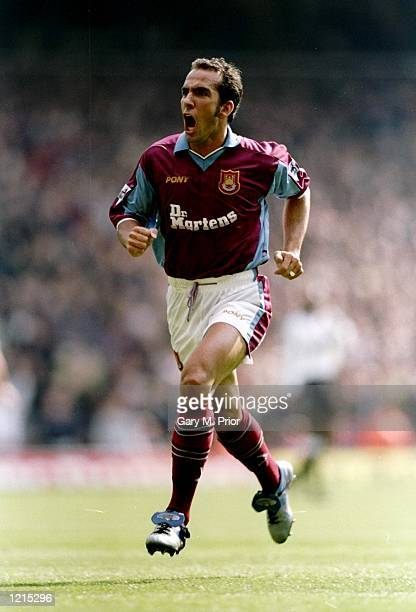 Paolo Di Canio of West Ham United celebrates his goal in the FA Carling Premiership match against Derby County at Upton Park in London. West Ham won...