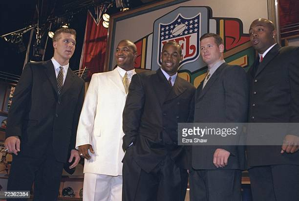 Quarterbacks Tim Couch Daunte Culpepper Donovan McNabb Cade McNown and Akili Smith pose for a picture during the NFL Draft at the Madison Square...