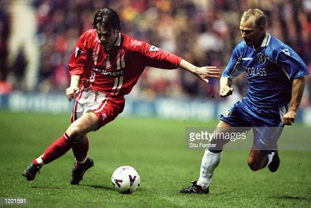 Robbie Stockdale of Middlesbrough battles with Bjarne Goldbaek of Chelsea during the Middlesbrough v Chelsea FA Carling Premiership match at the...