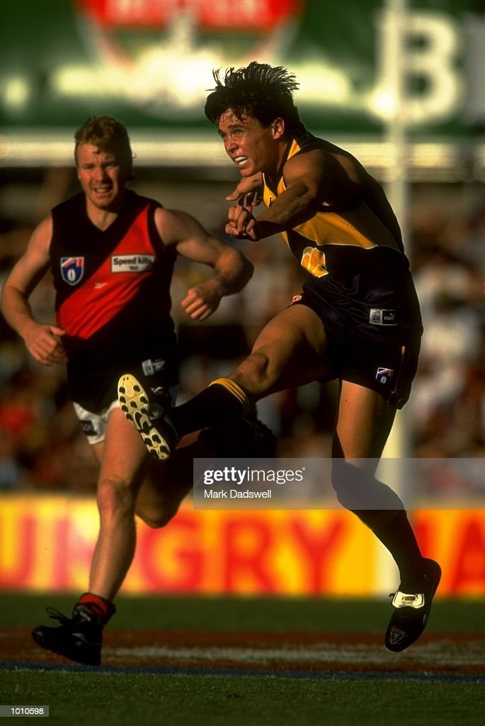 Rowan Jones of the West Coast Eagles in action during the 1999 AFL Premiership Round 4 match, where the West Coast (97) defeated Essendon (23) at the Subiaco Oval, Perth, Australia. \ Mandatory Credit: Mark Dadswell /Allsport