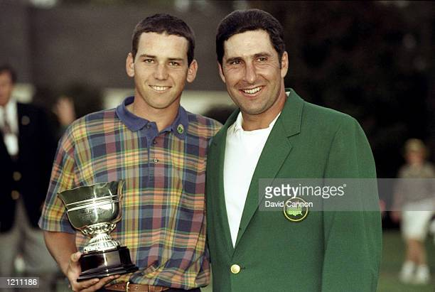 Spaniards Sergio Garcia and Jose Maria Olazabal win the Masters Amateur and Green Jacket respectivley at the 1999 US Masters at the Augusta National...