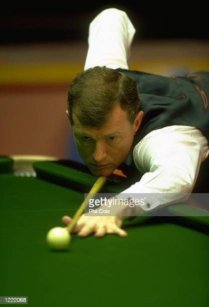 Steve Davis of England in action during the 1999 Embassy World Snooker Championships played at the Crucible Theatre in Sheffield England Mandatory...