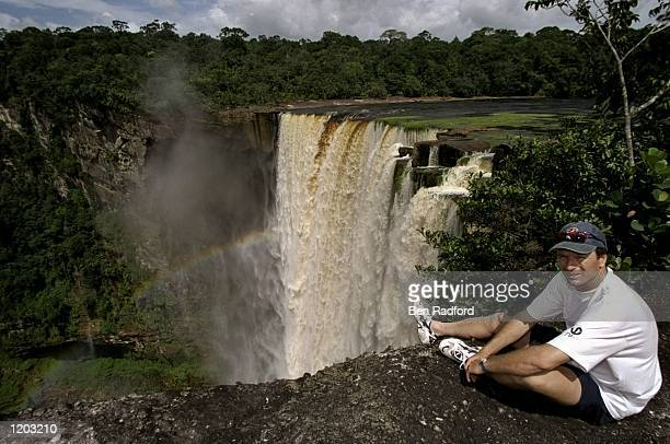 Steve Waugh of Australia relaxes near a waterfall during the One Day International tour in Barbados Mandatory Credit Ben Radford /Allsport