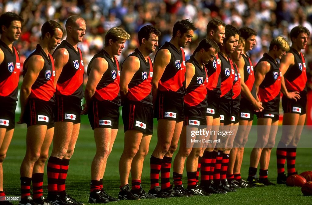 The Essendon Bombers line up prior to the AFL Premiership Round 5 match against the Collingwood Magpies at the MCG, Melbourne, Australia. The Anzac Day game finished with Essendon (108) defeating Collingwood (100). \ Mandatory Credit: MarkDadswell /Allsport