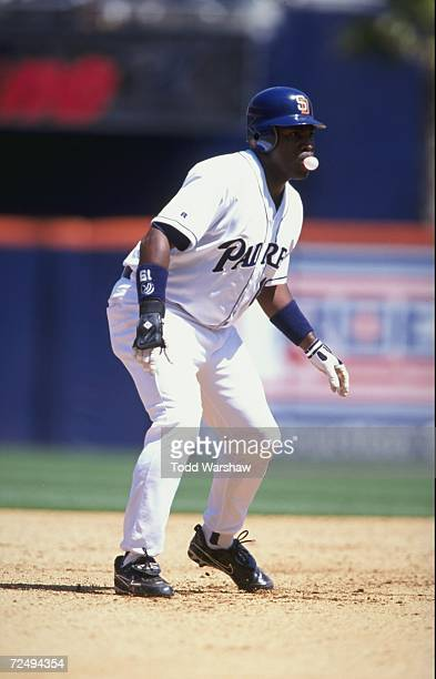 Tony Gwynn of the San Diego Padres blows a bubble as he moves to run during the game against the Los Angeles Dodgers at the Qualcom Stadium in San...