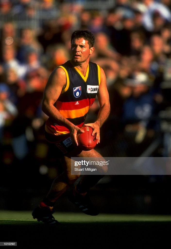 Troy Bond of the Adelaide Crows in action during the AFL Premiership Round 5 match against the Sydney Swans at the Football Park, Adelaide, Australia. The Anzac Day game finished with Adelaide (155) defeating Sydney (74). \ Mandatory Credit:Stuart Milligan /Allsport