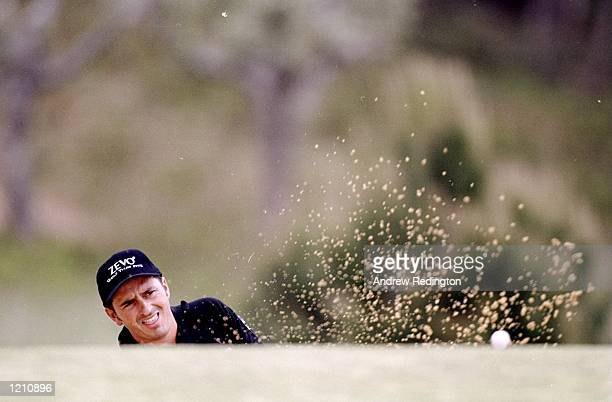 Van Phillips of England plays out of a bunker during the Estoril Open at the Penha Longa Golf Club in Portugal Mandatory Credit Andrew Redington...