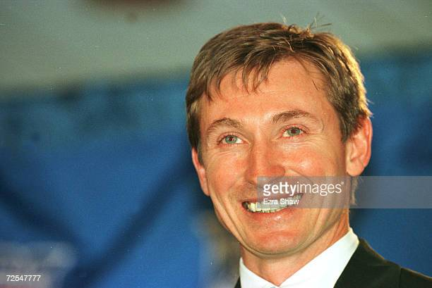 Wayne Gretzky 'The Great One' smiles during his announcment that he would retire today after 20 seasons in which he dominated the National Hockey...
