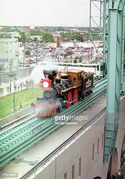 A general view of a train on the stadium wall taken during a game between the Houston Astros and the Philadelphia Phillies at Enron Field in Houston...