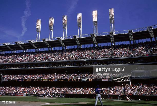 General view of Jacobs Field during the game between the Cleveland Indians and the Texas Rangers in Cleveland, Ohio. The Rangers defeated the Indians...