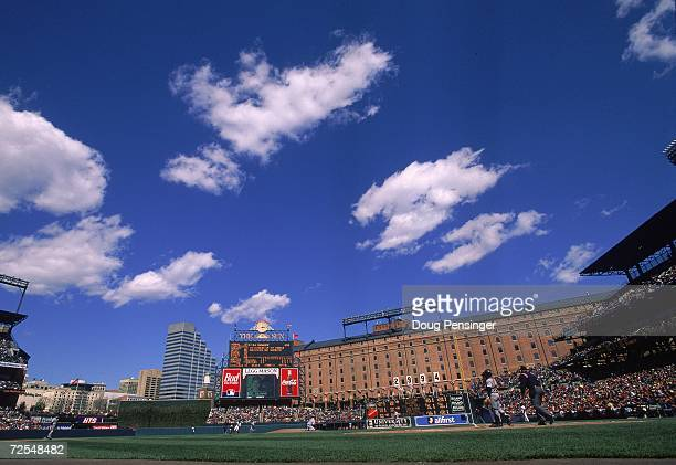 A general view of Oriole Park during the game between the Detroit Tigers and the Baltimore Orioles at Camden Yards in Baltimore Maryland The Orioles...