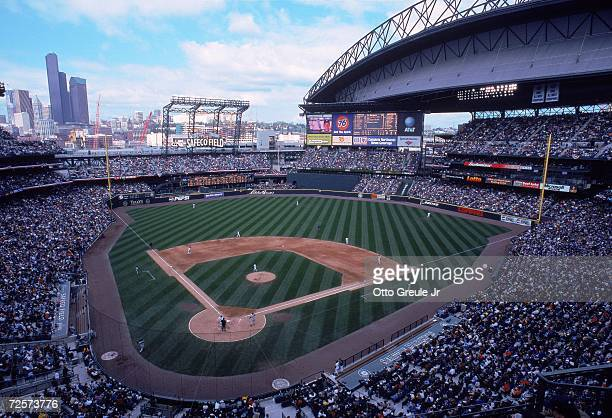 A general view of Safeco Field with the top open taken during a game between the Seattle Mariners and the New York Yankees in Seattle Washington The...