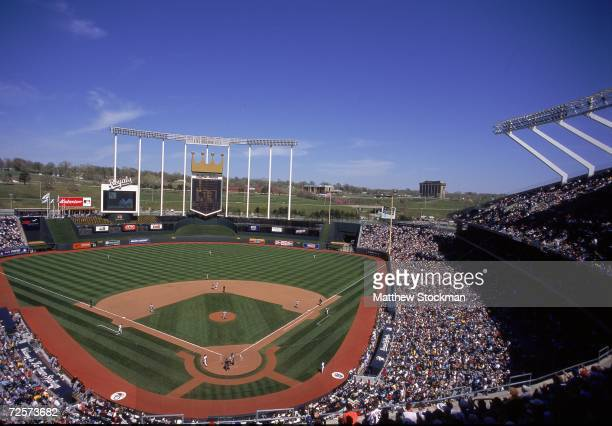A general view of the baseball diamond taken during a game between the Kansas City Royals and the Baltimore Orioles at the Kauffman Stadium in Kansas...