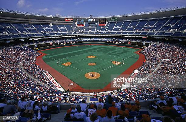 A general view of the stadium during the game between the Montreal Expos and the Philadelphia Phillies at Veterans Stadium in Philadelphia...