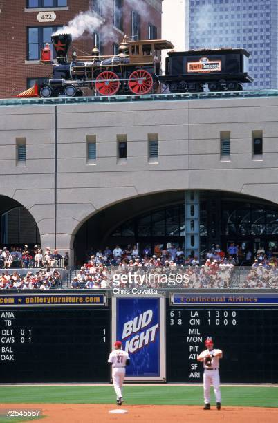 A shot of the train going by during the game between the San Diego Padres and the Houston Astros at Enron Field in Houston Texas The Padres defeated...