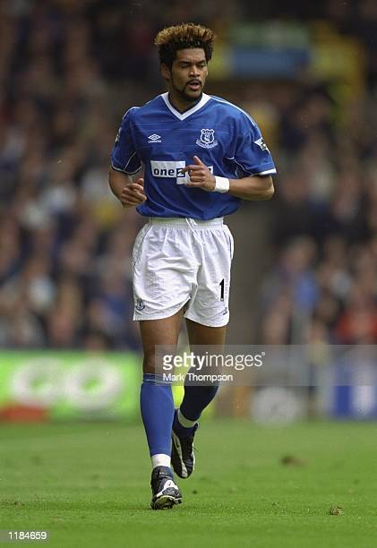 Abel Xavier of Everton during the FA Carling Premiership game between Everton and Watford at Goodison Park in Liverpool England The game ended 42 to...