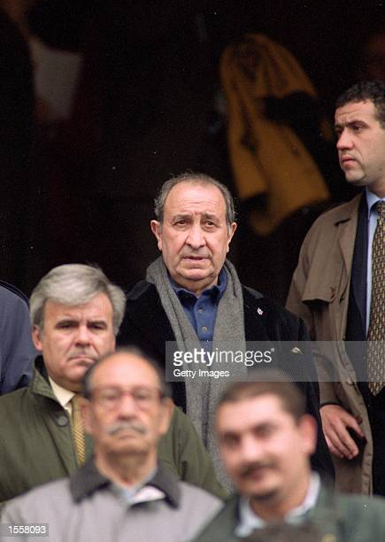 Atletico Madrid President Jesus Gil during the Primera Liga match against Malaga at the Vicente Calderon Stadium in Madrid Spain Picture by Nuno...