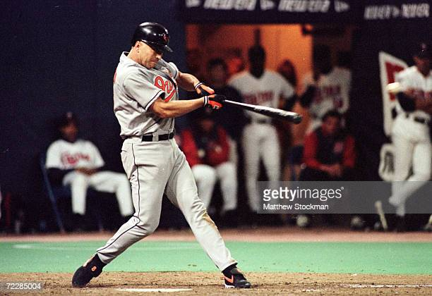 Cal Ripken Jr of the Baltimore Orioles swats hit, a single, in the 7th inning against the Minnesota Twins at HHH Metrodome in Minneapolis, Minnesota.