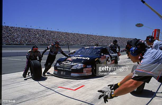 Dale Earnhardt Sr #3 is pulling in for a pit stop during the NAPA Auto Parts 500 Part of the NASCAR Winston Cup Series at the California Speedway in...