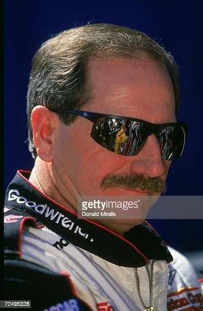 Dale Earnhardt Sr #3 is watching the action during the NAPA Auto Parts 500 Part of the NASCAR Winston Cup Series at the California Speedway in...