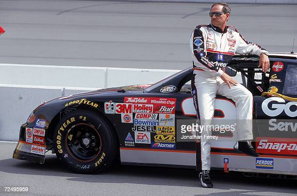 Dale Earnhardt Sr poses with his car during the NAPA Auto Parts 500 Part of the NASCAR Winston Cup Series at the California Speedway in Fontana...