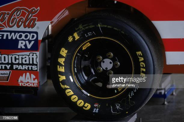 Dale Jarrett''s tire during the NAPA Auto Parts 500 Part of the NASCAR Winston Cup Series at the California Speedway in Fontana California Mandatory...