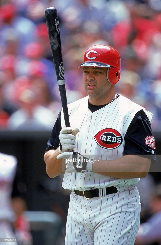 Dante Bichette #9 of Cincinnati Reds on deck to batduring the game against the San Francisco Giants at Cinergy Field in Cincinnati, Ohio. The Reds defeated the Giants 11-1. Mandatory Credit: Harry How /Allsport