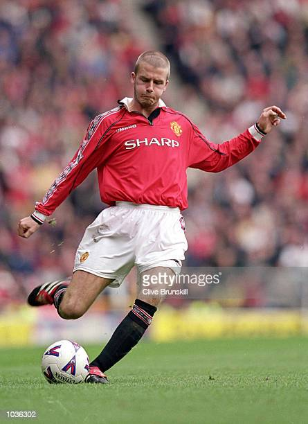 David Beckham of Manchester United in action during the FA Carling Premiership game between Manchester United and Chelsea at Old Trafford in...