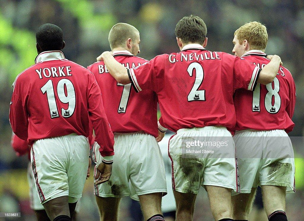 Dwight Yorke, David Beckham, Gary Neville and Paul Scholes : News Photo