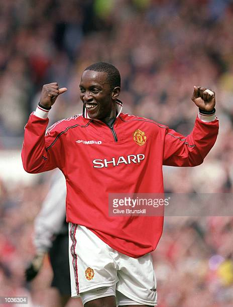 Dwight Yorke of Manchester United celebrates during the FA Carling Premiership game between Manchester United and Chelsea at Old Trafford in...