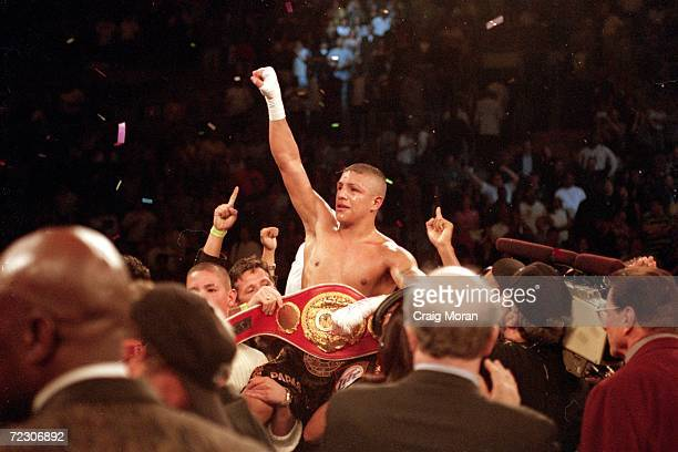 Fernando Vargas celebrates his victory over Ike Quartey during the IBF Junior Middleweight Championship at the Mandalay Bay Resort in Las Vegas...