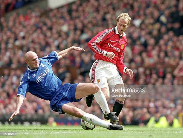 Frank Leboeuf of Chelsea challenges Jordi Cruyff of Manchester United during the FA Carling Premiership game between Manchester United and Chelsea at...