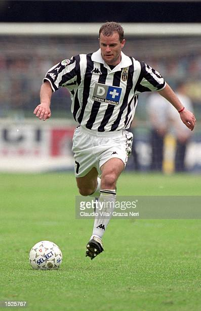 Gianluca Pessotto of Juventus on the ball against Verona during the Italian Serie A match at the Stadio Bentegodi in Verona Italy Mandatory Credit...