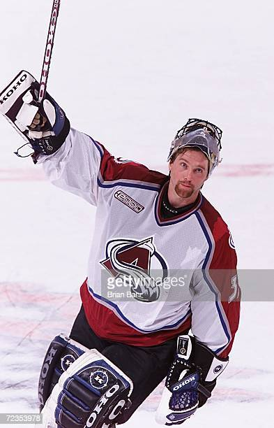 Goalie Patrick Roy of the Colorado Avalanche acknowledges the crowd after defeating the Phoenix Coyotes during game five of the first round of...