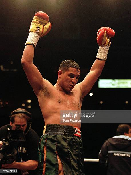 Hector Camacho celebrates after defeating Bob Elkins at Joe Louis Arena in Detroit Michigan Camacho won by technical knockout Mandatory Credit Tom...
