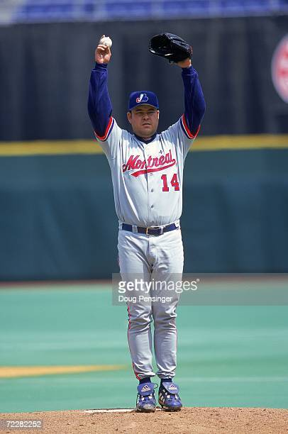 Hideki Irabu of the Montreal Expos lines up the pitch during the game against the Philadelphia Phillies at the Veterans Stadium in Philadelphia...