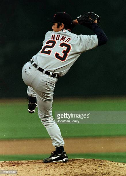 Hideo Nomo of the Detroit Tigers pitches during the A's v Tigers seaon opener at the Network Associates Coliseum in Oakland, CA.