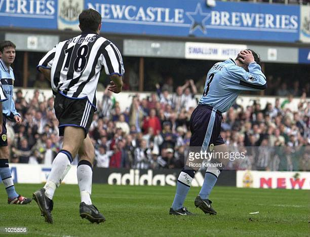 Ian Harte of Leeds after missing the penalty to score the third goal during the Newcastle United v Leeds United FA Carling Premiership match at St...