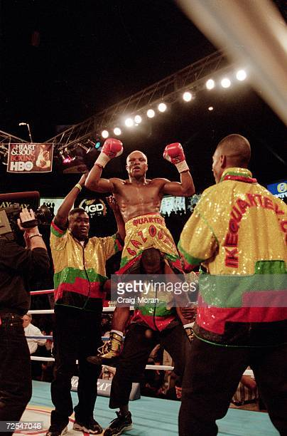 Ike Quartey enters the ring before his fight against Fernando Vargas for the IBF Junior Middleweight Championship at the Mandalay Bay Resort in Las...