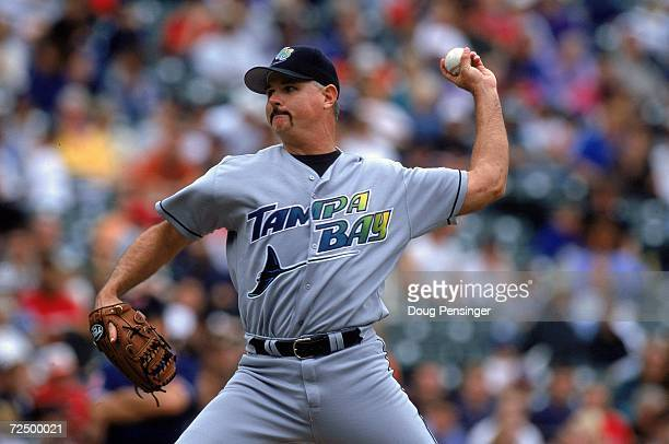 Jim Morris of Tampa Bay Devil Rays pitching during the game against the Baltimore Orioles at Oriole Park Camden Yards Baltimore Maryland The Oriloles...
