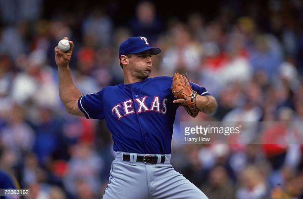 John Wetteland of the Texas Rangers pitching during the game against the Cleveland Indians at Jacobs Field in Cleveland, Ohio. The Indians defeated...