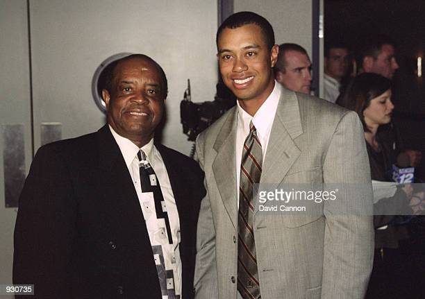 Lee Elder , the last black player to win the US Masters poses with Tiger Woods of USA during the 2000 Masters tournament at the Augusta National Golf...